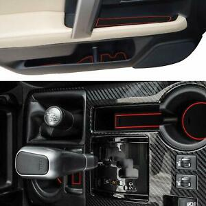 Cup Door Console Liner Accessories Kit For 2010 2019 Toyota 4runner Red Trim
