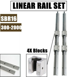 Sbr16 Linear Rail 300 2000mm Slide Shaft Rod 4x Sbr16uu Bearing Blocks Cnc Set