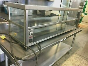 Food Warmer Display Stainless Steel Cabinet With Glass Counter Top 2 Shelves