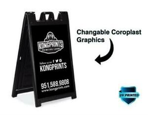 Personalized Custom Deluxe Outdoor Folding Sidewalk Sign A frame Double Sides
