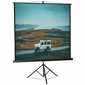 84 Tripod Floor Stand Manual Pull Up Projection Screen Home Theater Office