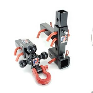 Adjustable Trailer Hitch Triple Tri Ball Mount Pintle Hook D Ring 2 Receiver