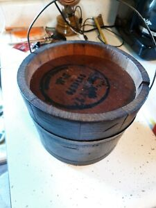 Antique Primitive Country Wood Wooden Handled Bucket Pail 5 1 2 7 1 2