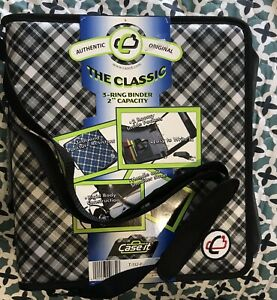 Case it The Classic Zipper 2 3 Ring Binder School Handle Strap Plaid Black Gray