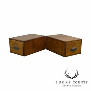 Antique Oak Pair Of Desktop Library Card File Cabinets B