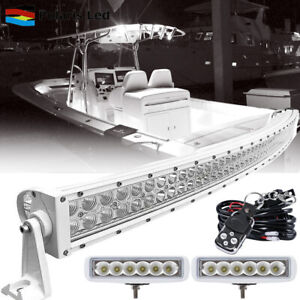 Curved Led Light Bar 6 18w Led Pods Work Lamp Offroad Marine Deck Boat white