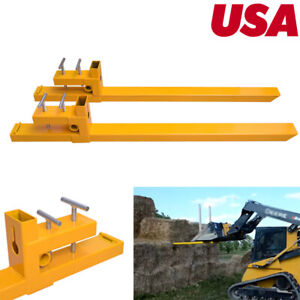 43 Clamp On Pallet Forks Loader Bucket Skid Steer Tractor 3500 2000lbs Capacity
