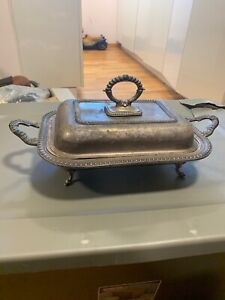 Vintage Silver Plated Sbep Double Chaffing Dish Serving Tray