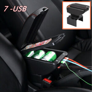 1 7usb Charging Car Dual Opening Armrest Box Central Console Cup Holder Storage