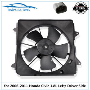 Left Driver Side Radiator Cooling Fan Motor Assembly For 2006 2011 Honda Civic