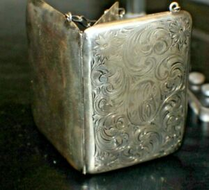 Vintage Case Sterling Silver With Inserts Early 1900 Monogrammed Ladies Purse