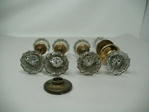 Lot Of 4 Glass Vintage Door Knob Clear 12 Point With Spindles 8 Knobs In Total