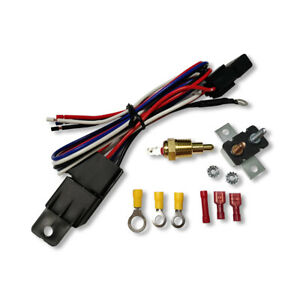 Electric Engine Cooling Fan Thermostat Temperature Switch Sensor Relay Kit