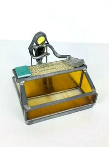 Vintage Metal Stained Glass Office Accountant businessman Business Card Holder