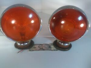 Vintage 7 double Sided Orange Lens Light W chrome Tractor Rat Rod