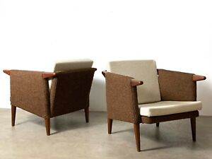 Pair Vintage Mid Century Danish Modern Rare Teak Cube Club Lounge Chairs Brown
