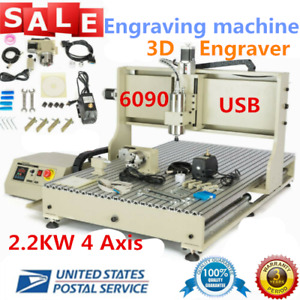 Usb 2 2kw 4 Axis 6090 Router Engraver Metal Drilling Milling Machine 3d Cutter