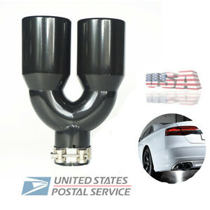 2 5 Inlet Stainless Steel Universal Car Exhaust Tail End Dual Pipe Muffler Tip