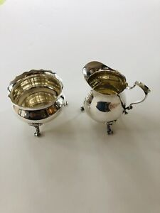 Vintage Poole Sterling Silver 115 Creamer And Sugar Bowl Set