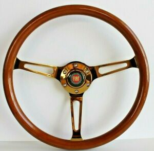Steering Wheel Fiat Classic Vintage Wood Chrome Polyshed 380mm Classic Wooden