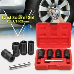 5pcs 1 2 Drive Twist Socket Remover Set Damaged Worn Lug Nut And Lock Tool