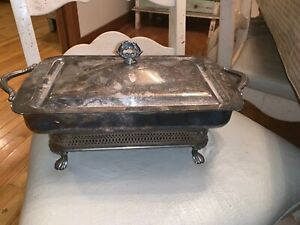 Vintage Antique Large Silver Plated Chafing Serving Casserole Dish