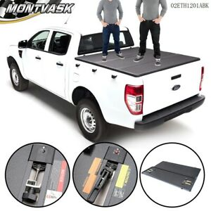 For Ford F 150 2004 2018 Lock Hard Solid Tri fold Tonneau Cover 5 5ft Truck Bed