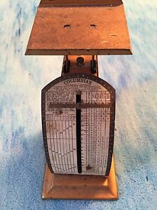 Antique Gold Tone Pelouze Columbian Foreign Letters Postal Scale Patent 1903