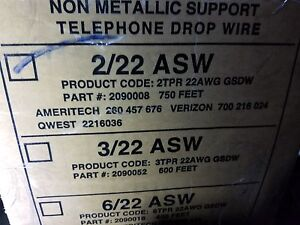 General Cable 2090008 22 2p Nm Support Telephone Service Drop Wire Asw Blk 100ft