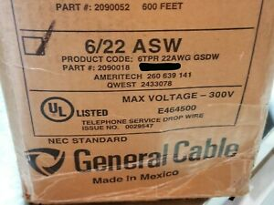 General Cable 2090018 22 6p Nm Support Telephone Service Drop Wire Asw Blk 50ft
