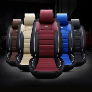 Deluxe 5d Car Seat Cover Thicken Cushions Front Rear Full Set Pu Leather Us
