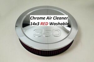 Chrome Air Cleaner 350 Embossed s 14x3 Edelbrock Holley Red Washable