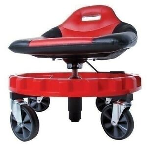 Red Black Hydraulic Shop Stool Rolling Tractor Seat Tool Tray Garage Mechanic