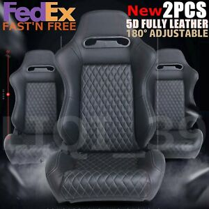 New Universal 2p Sp Sport Black Leather Stitch Reclinable Racing Bucket Seats