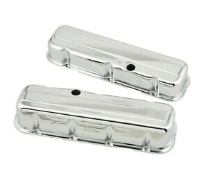 Mr Gasket Chrome Tall style Valve Covers W o Baffle Big Block Chevy