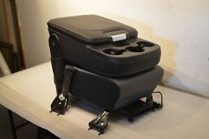03 19 Dodge Ram Center Jump Seat Console Leather Black Grey Oem Wiring Included