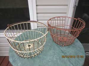 2 Vintage Metal Wire Egg Gathering Basket Old Rusty Farm Decor Shabby Primitive