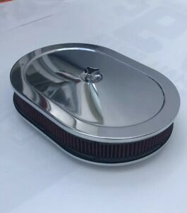 Chrome Air Cleaner Oval 12 Red Washable Filter Chevy 350 383 New