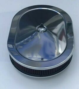 Chrome Air Cleaner Oval 12 Red Washable Filter Mopar Dodge Plymouth 383 440 318