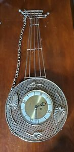 Mid Century Welby 8 Day Wall Clock Guitar Shape Works