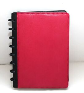 Levenger Circa Pebbled Leather Raspberry Foldover Notebook Junior New In Box