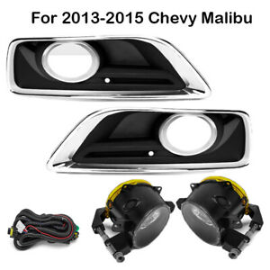 13 15 Chevy Malibu Clear Fog Lights Bumper Driving Lamps W Lights Switch Bezels