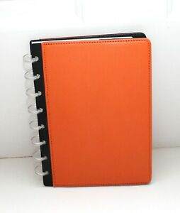 New Levenger Circa Leather Tangarine Foldover Notebook Junior New With Tag
