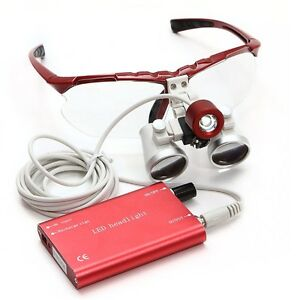Red Dental Loupes 3 5x 420mm Surgical Medical Binocular With Led Head Light Lamp
