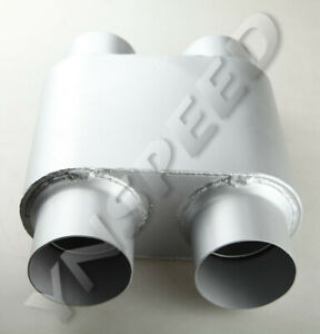 3 Inch Dual In 3 Inch Dual Out Single Chamber Race Muffler Silencer Us Ship