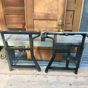 Antique Heavy Cast Iron Legs Steampunk Industrial Table