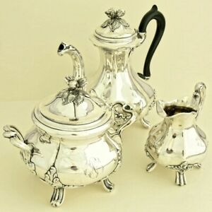 Antique French Sterling Silver Coffee Tea Service Set 3pc Pot Sugar Bowl Creamer