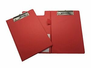 Pack Of 12 A5 Red Foldover Clipboard With Pen Holder Clip Board