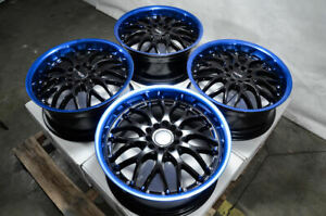 17x7 5 Blue Wheels Fits Hyundai Elantra Tiburon Ford Fusion Sonata Civic Rims