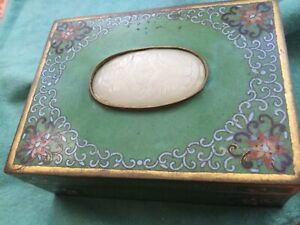 Rare Qing Dynasty White Jade Butterflies Insert Plaque On Chinese Cloisonn Box